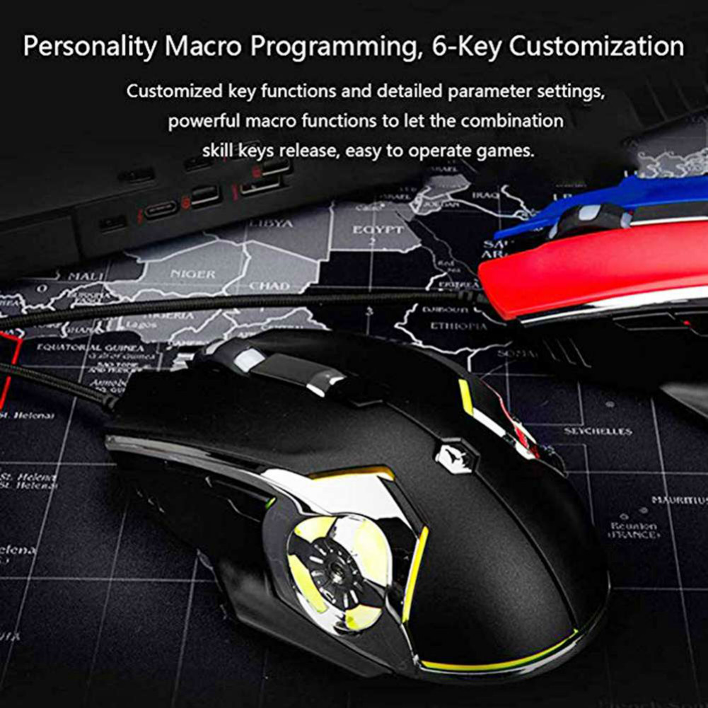 wired-mouse Ajazz AJ120 USB Wired Gaming Mouse 3200DPI 6 Keys Customized Macro Programmable Buttons For Home Office - Black Ajazz AJ120 USB Wired Gaming Mouse 1