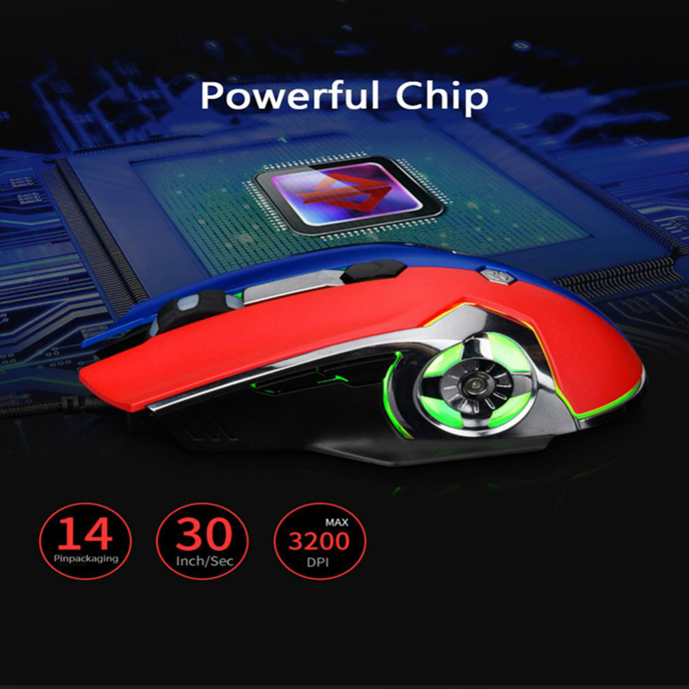 wired-mouse Ajazz AJ120 USB Wired Gaming Mouse 3200DPI 6 Keys Customized Macro Programmable Buttons For Home Office - Black Ajazz AJ120 USB Wired Gaming Mouse 4