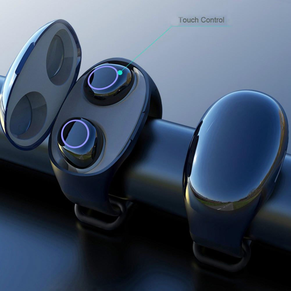 earbud-headphones HM50 TWS Bluetooth 5.0 Earphone Built-in Mic Hifi Sound Wristband Case-Black HM50 TWS Touch Earphone Bluetooth 5 0 2