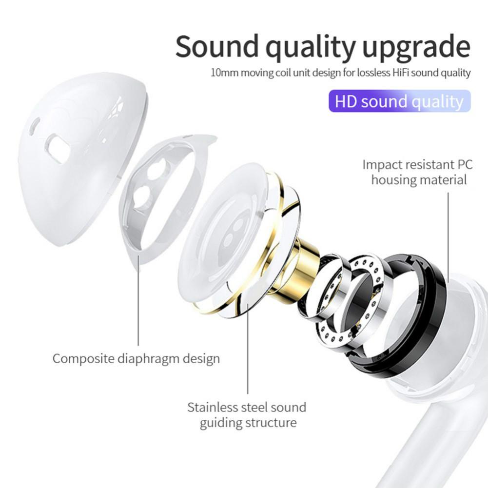 earbud-headphones MX11 TWS Bluetooth 5.0 Earbuds Fingerprint Touch Siri Assistant Hifi Sound Noise Canceling 400mAh Charging Box-White MX11 TWS Bluetooth V5 0 Earphones 3