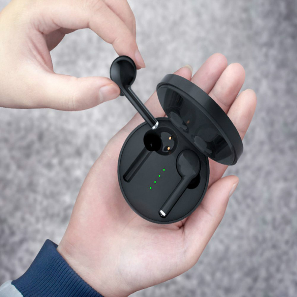 earbud-headphones TW40 Bluetooth 5.0 TWS Earbuds Stereo HiFi Sound 500 mAh Charger Battery Siri Assistant-Black TW40 TWS Bluetooth 5 0 Earphone Black 4
