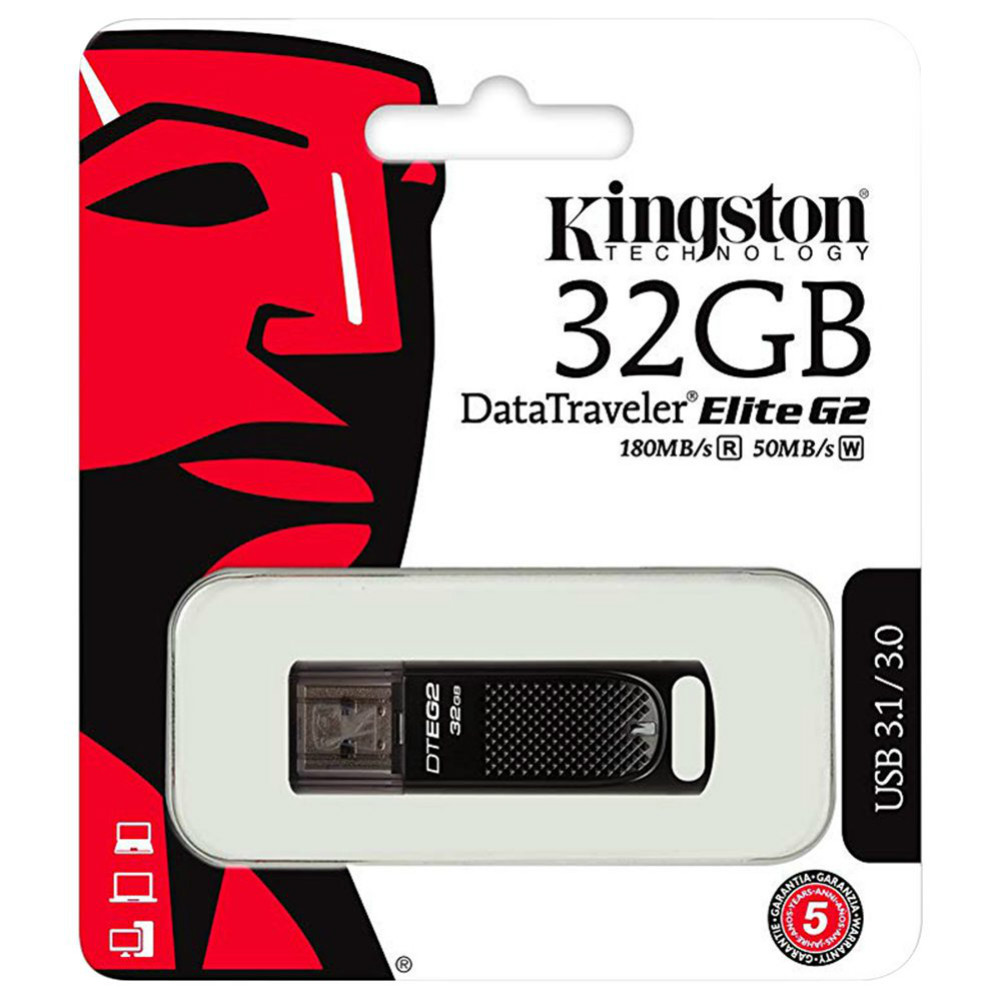 usb-flash-drives-Kingston DTEG2 USB 3.1 Flash Drive 32GB  Reading Speed 180MB/S - Black-Kingston DTEG2 32GB USB Flash Drive 3
