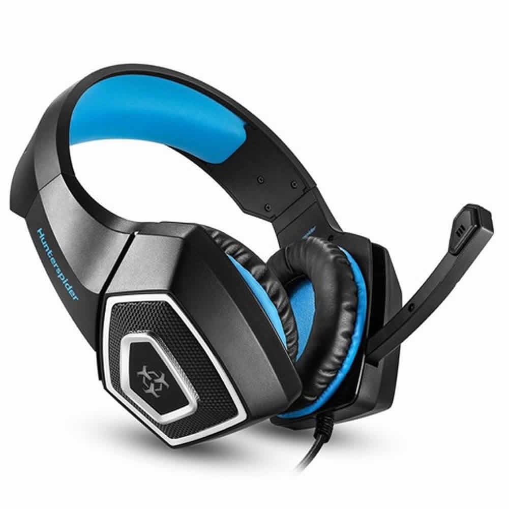 on-ear-over-ear-headphones Hunterspider V1 Gaming Headset  RGB Light 3.5mm Audio+USB Port with Mic for Desktop PC-Black+Blue hunterspider v1 gaming headset 1