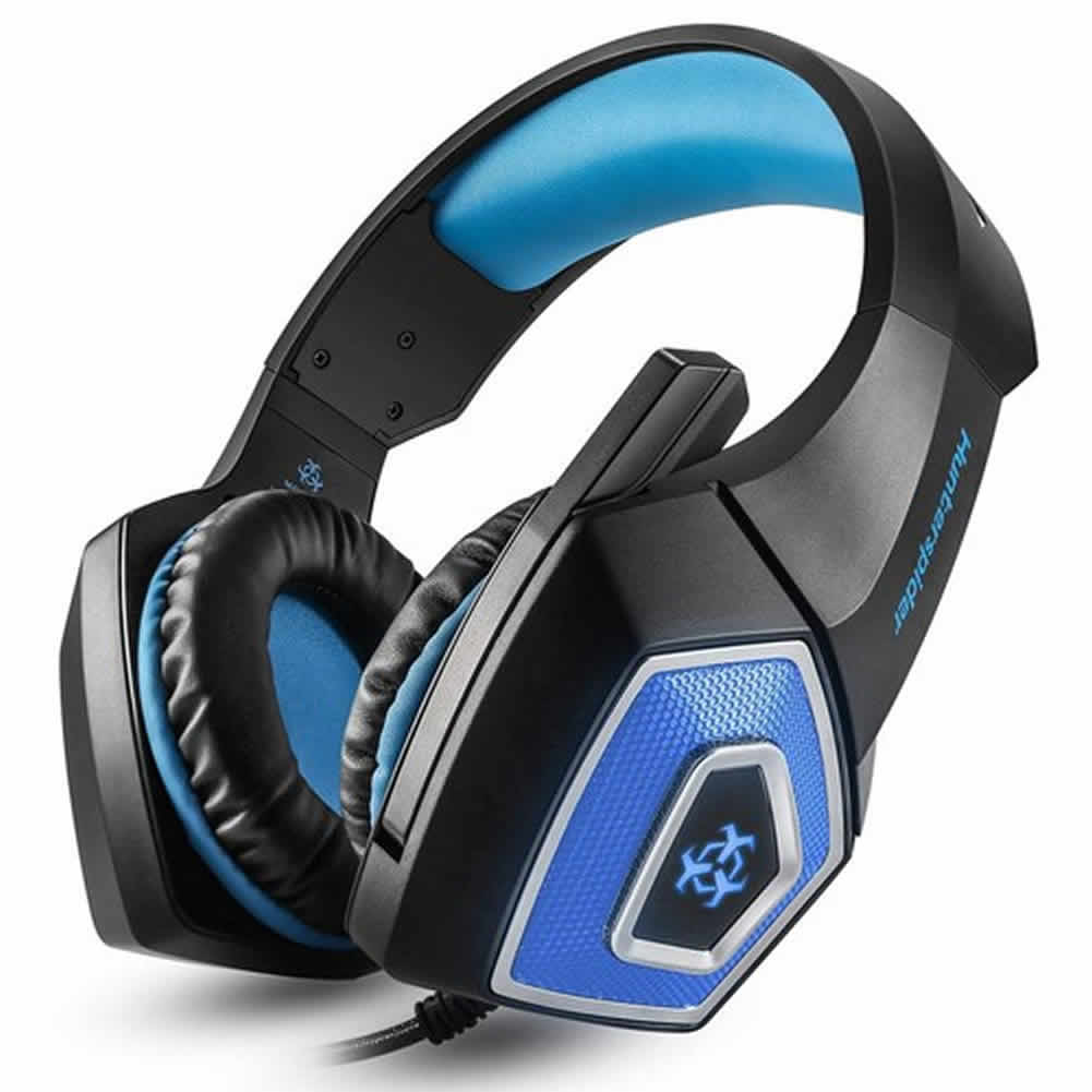 on-ear-over-ear-headphones-Hunterspider V1 Gaming Headset  RGB Light 3.5mm Audio+USB Port with Mic for Desktop PC-Black+Blue-hunterspider v1 gaming headset 2