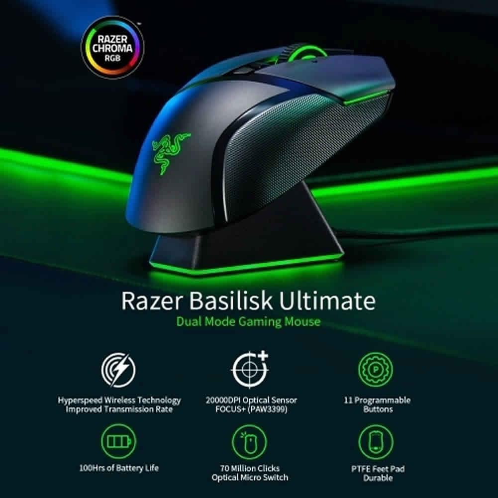 wireless-mouse Razer Basilisk Ultimate Hyperspeed Wireless Gaming Mouse 20000 DPI Chroma Lighting 11 Keys Razer Basilisk Ultimate Wireless Gaming Mouse 2
