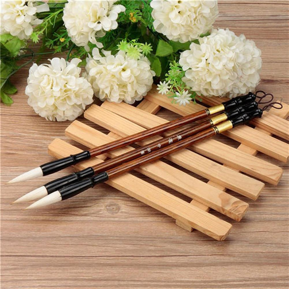 writing-brush 3PCS Chinese Calligraphy Painting Brushes Set Pen Woolen Weasel Hair HOB1023153 1 1