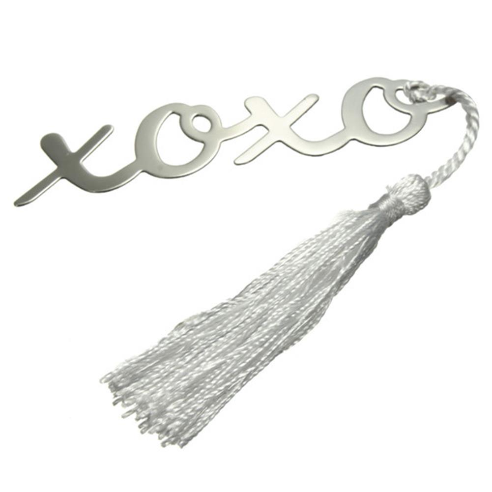 stamp-bookmark Silver Mental Bookmark with A Tassel Crafting Label Book Mark Party Favor Gifts for Friend Student office HOB1047071 1