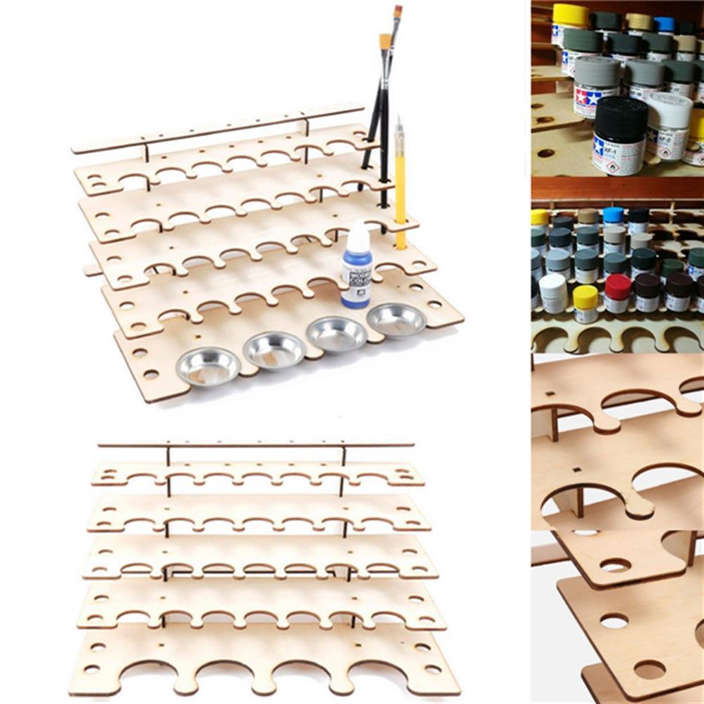 desktop-off-surface-shelves 32 Pots Wooden Acrylic Paint Stand Bottle Storage Rack Holder Modular Organizer HOB1122017 1