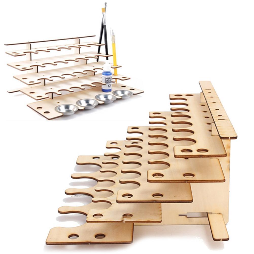 desktop-off-surface-shelves 32 Pots Wooden Acrylic Paint Stand Bottle Storage Rack Holder Modular Organizer HOB1122017 2 1