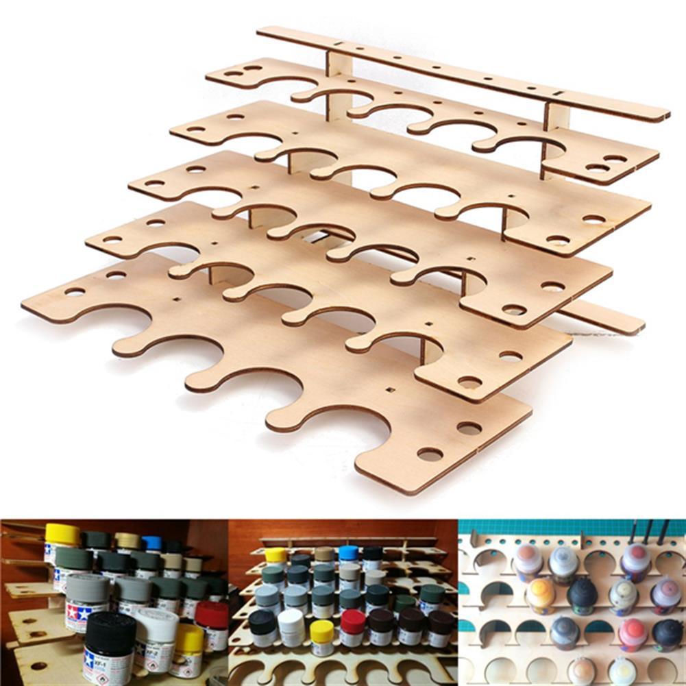 desktop-off-surface-shelves 24 Pots Wooden Acrylic Paint Stand Bottle Storage Rack Holder Modular Organizer HOB1122048 1