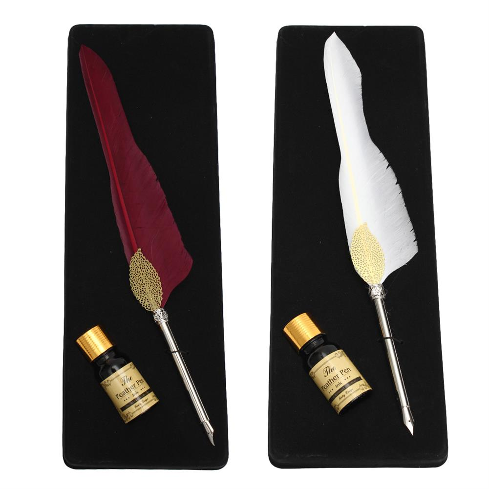 writing-brush Antique Pure Goose Feather Quill Dip Pen and ink Set Stationery Gift Box HOB1122488 1