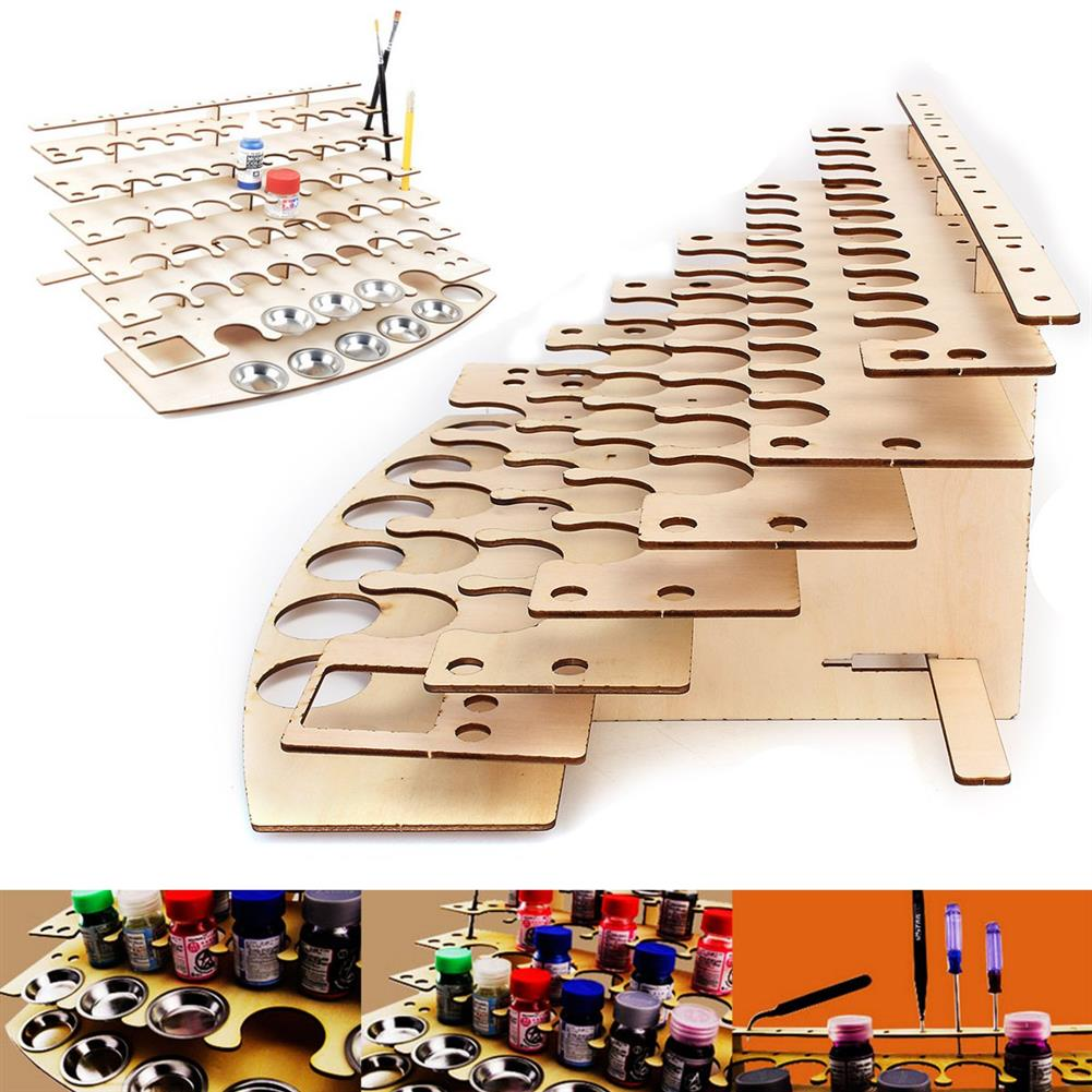 artboard-easel 57 Pots Wooden Acrylic Color Paints Bottle Storage Rack Holder Organizer HOB1122497 1