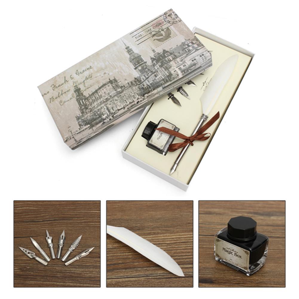 writing-brush Retro Goose Feather Quill Pen Metal Nib Dip Writing Black ink Set Collectable HOB1122951 1