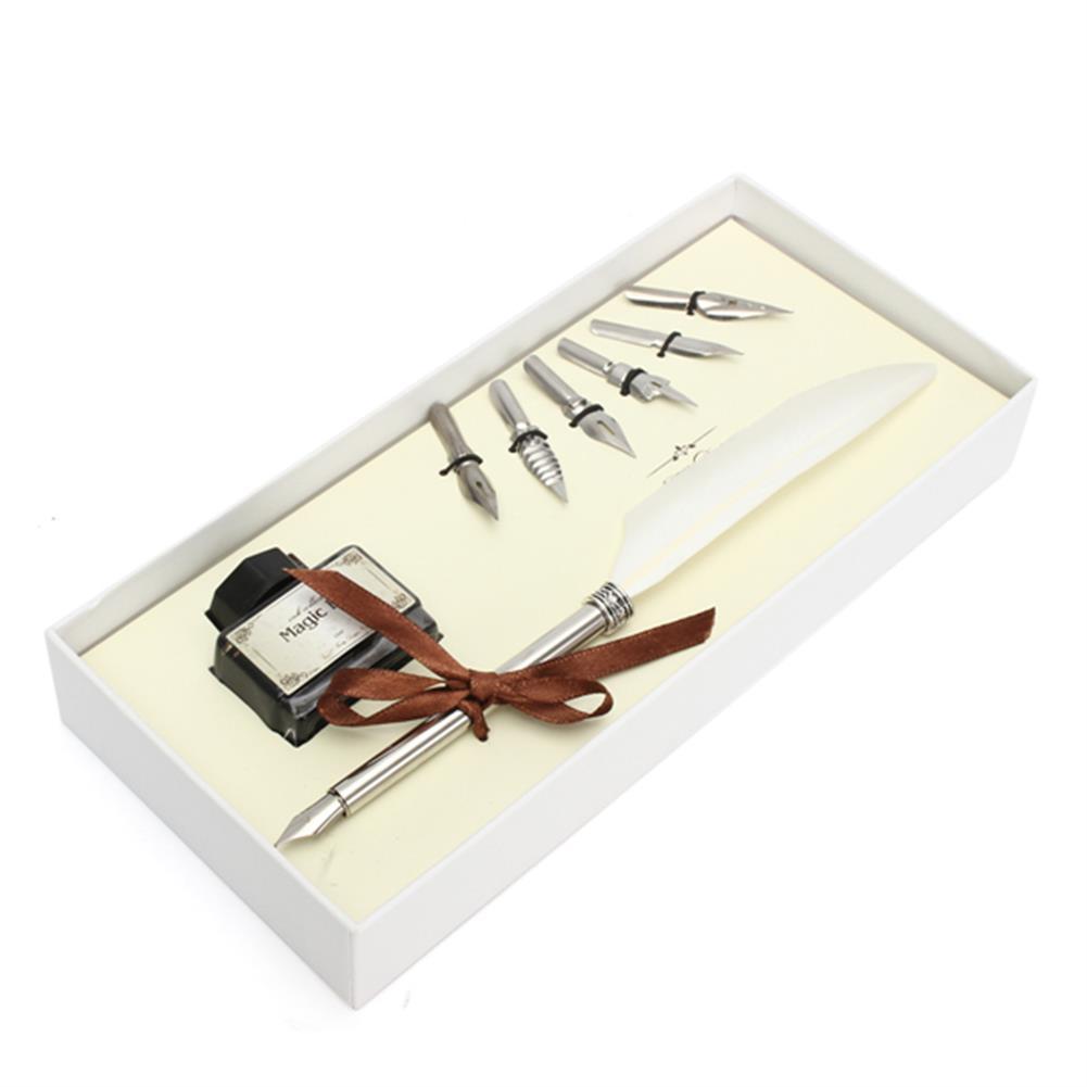 writing-brush Retro Goose Feather Quill Pen Metal Nib Dip Writing Black ink Set Collectable HOB1122951 1 1