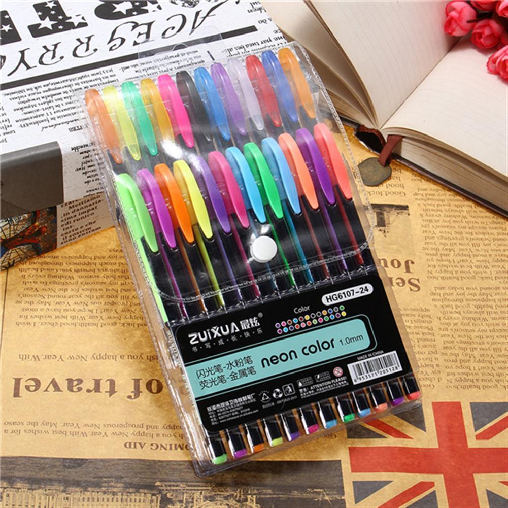 gel-pen 24 Pcs Color Gel Pen Set Adult Coloring Book ink Pen Drawing Painting Craft Art for School Home HOB1122994 2 1