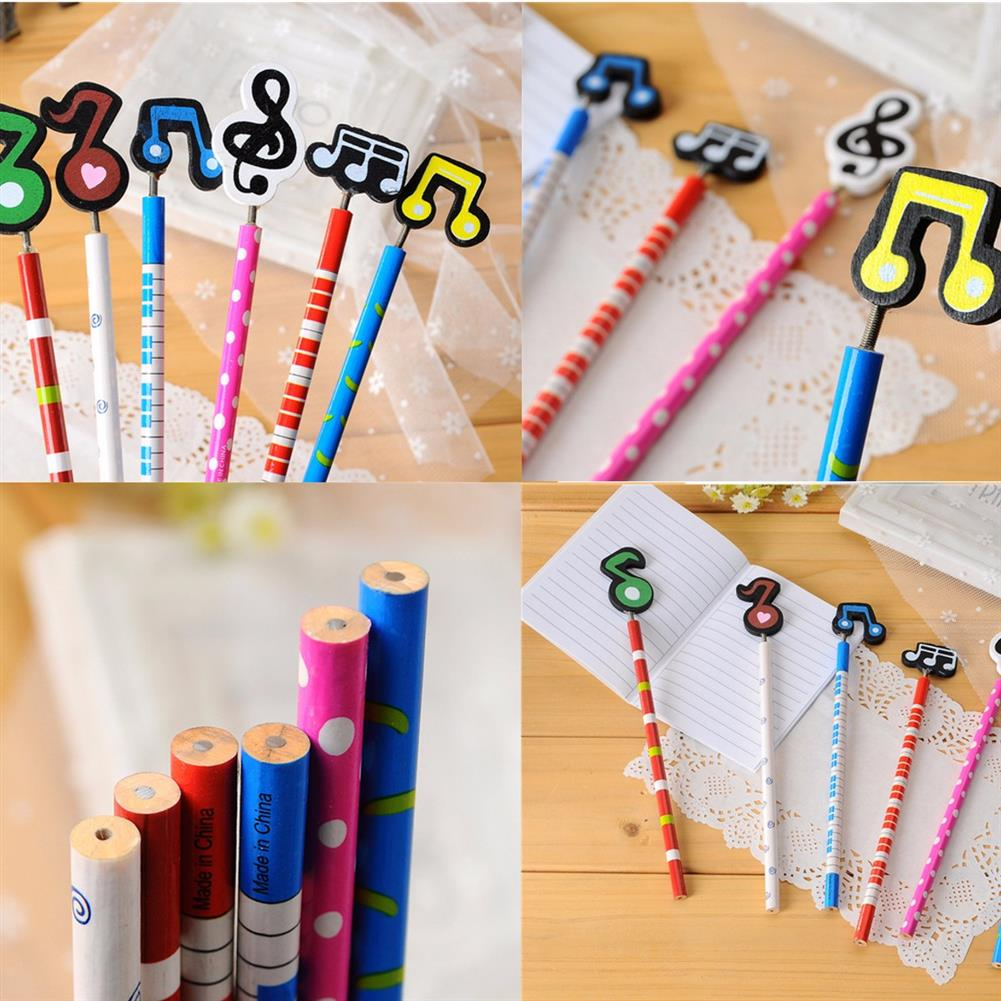 gel-pen 12 Pcs Wooden Pencils Musical Note Patterns Cartoon Pencils Writing Painting Stationery Gifts for Children HOB1126398 1 1