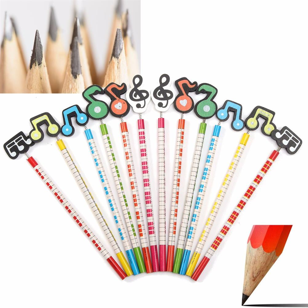 gel-pen 12 Pcs Wooden Pencils Musical Note Patterns Cartoon Pencils Writing Painting Stationery Gifts for Children HOB1126398 2 1