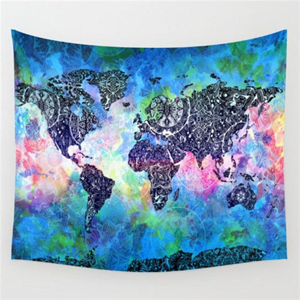 other-learning-office-supplies 150*130 cm Vintage World Map Blanket Cosmos Galaxy Polyester Wall Hanging Tapestry Home Living Room office Background Decor HOB1129925 1