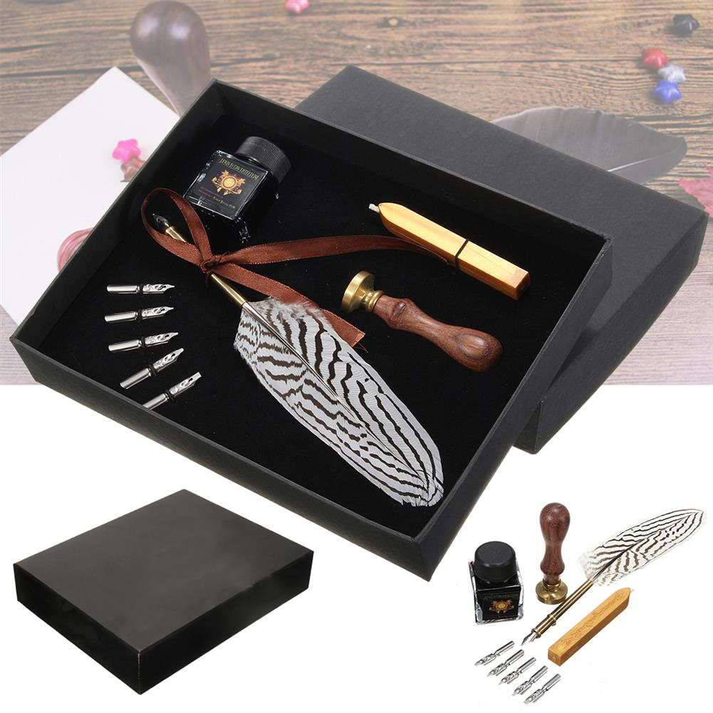 writing-brush Antique Feather Writing Quill Pen ink Seal Wax Set Collection Stationery Gift HOB1134839 1