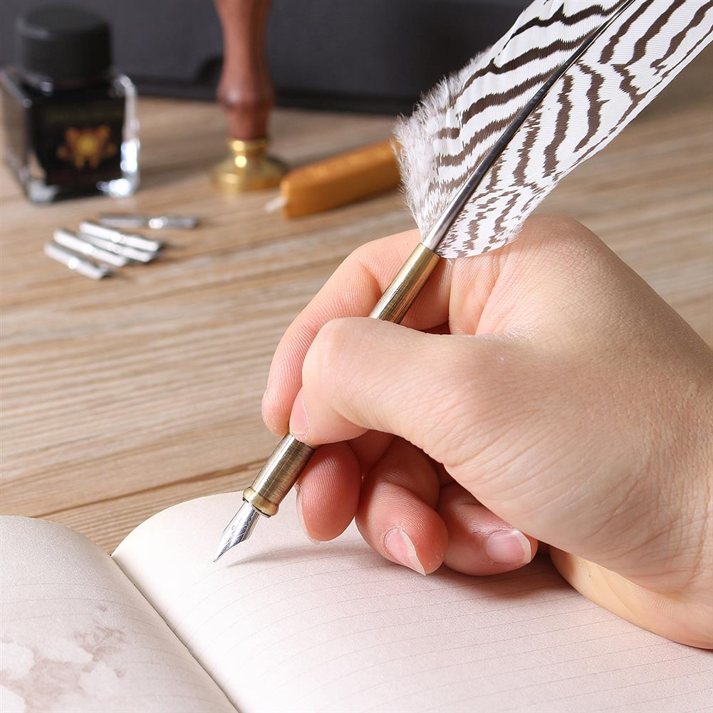 writing-brush Antique Feather Writing Quill Pen ink Seal Wax Set Collection Stationery Gift HOB1134839 3 1