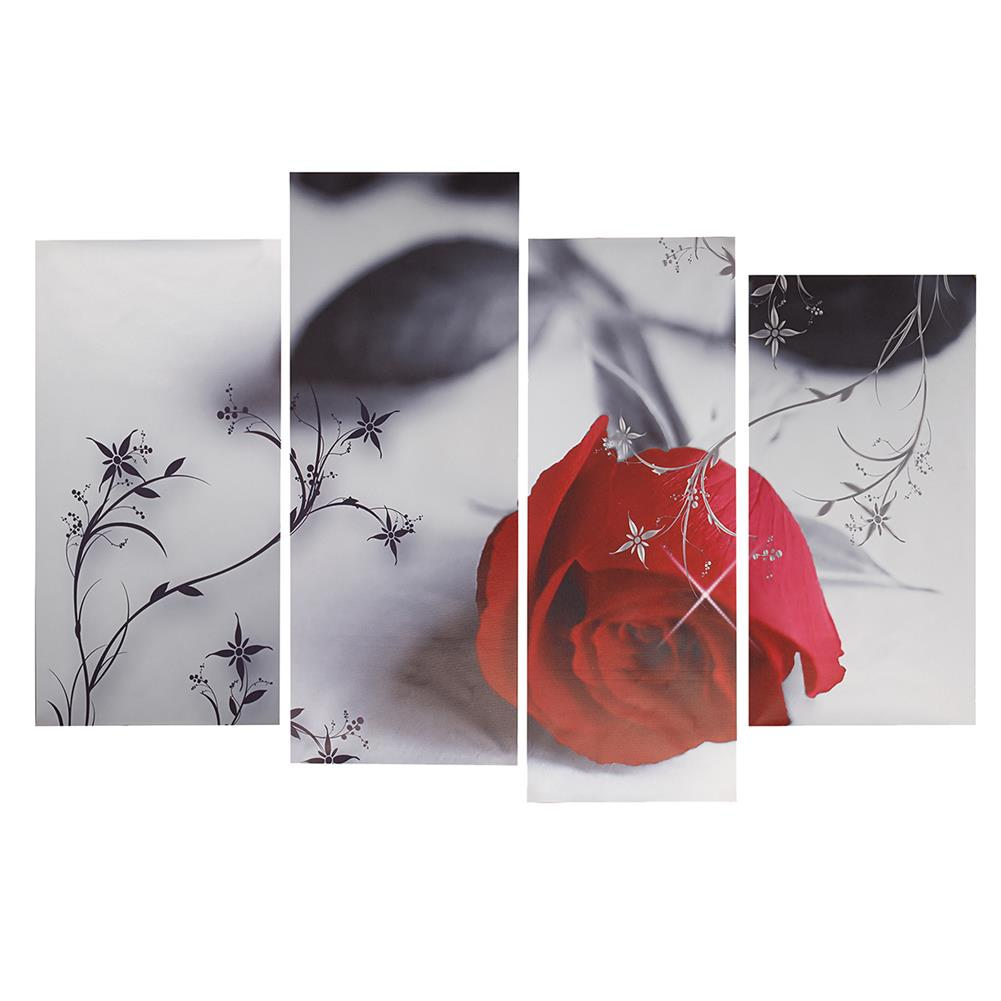 other-learning-office-supplies 4pcs Red Rose Canvas Painting Wall Art Hanging Drawing Pictures Home Living Room office Decoration Frameless HOB1141125 1
