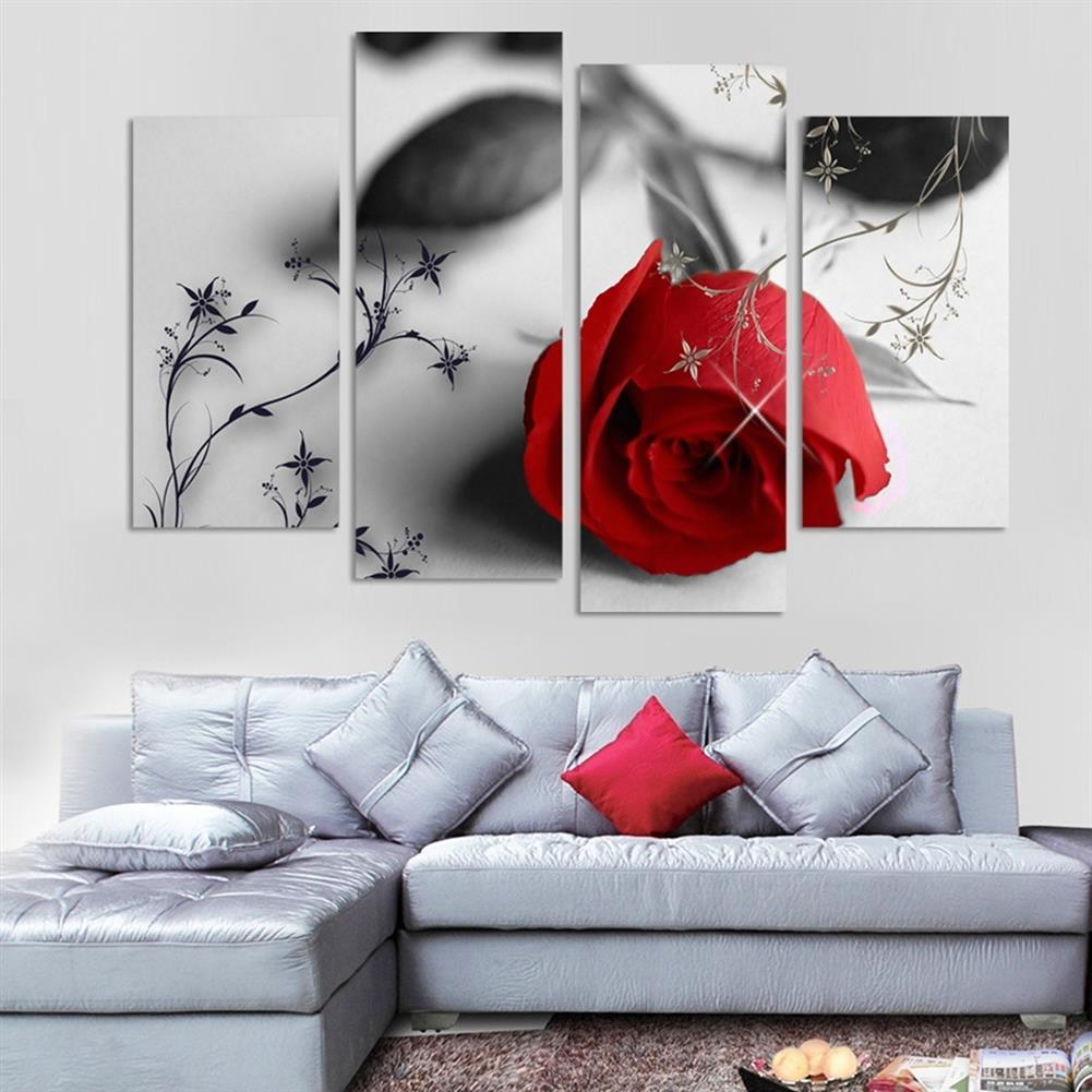 other-learning-office-supplies 4pcs Red Rose Canvas Painting Wall Art Hanging Drawing Pictures Home Living Room office Decoration Frameless HOB1141125 1 1