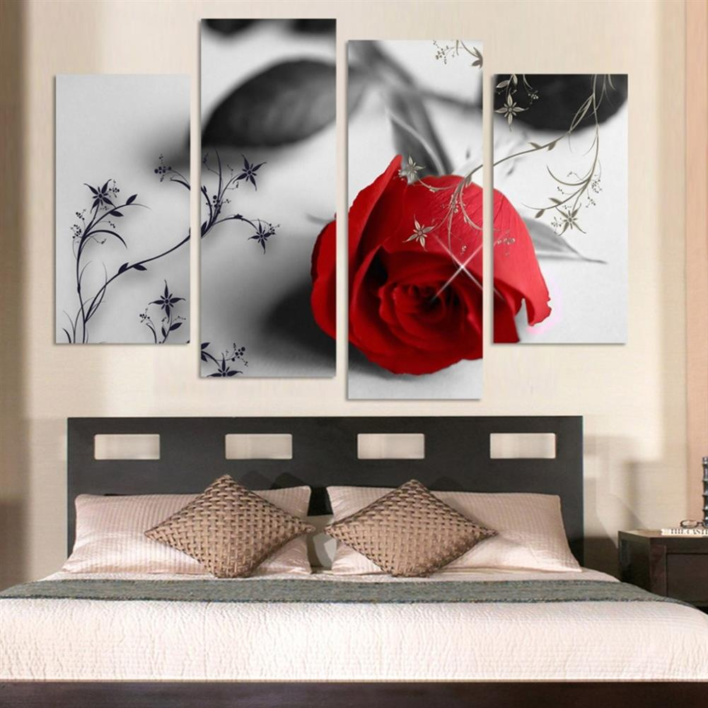 other-learning-office-supplies 4pcs Red Rose Canvas Painting Wall Art Hanging Drawing Pictures Home Living Room office Decoration Frameless HOB1141125 2 1