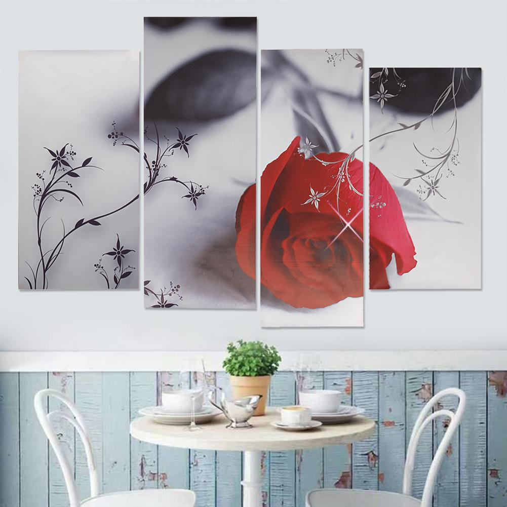 other-learning-office-supplies 4pcs Red Rose Canvas Painting Wall Art Hanging Drawing Pictures Home Living Room office Decoration Frameless HOB1141125 3 1