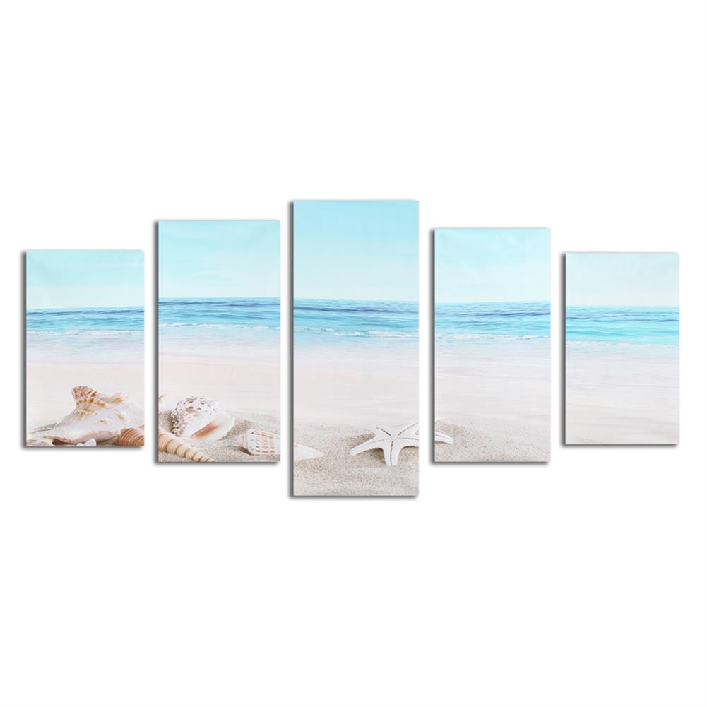 art-kit 5Pcs Wall Decorative Paintings Sea Beach Canvas Print Art Pictures Frameless Wall Hanging Decor for Home office HOB1153835 1