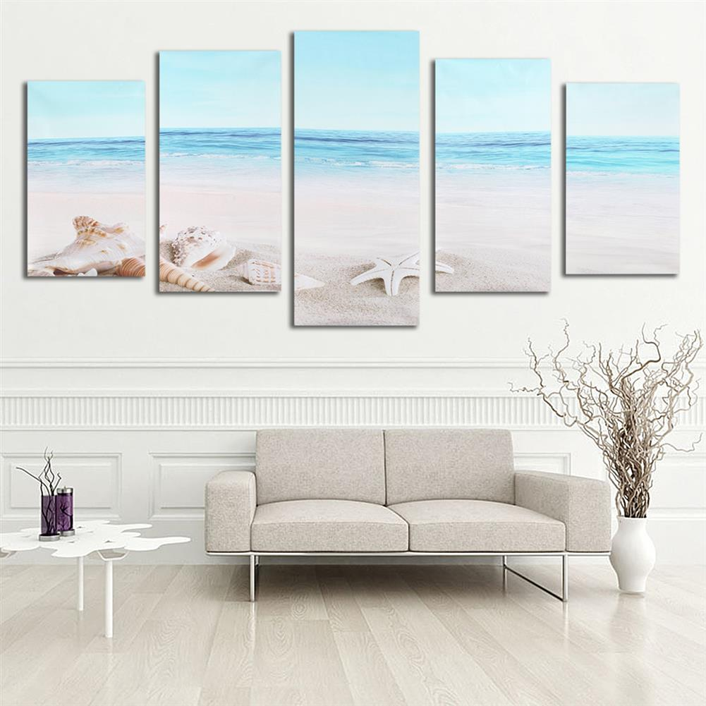 art-kit 5Pcs Wall Decorative Paintings Sea Beach Canvas Print Art Pictures Frameless Wall Hanging Decor for Home office HOB1153835 1 1