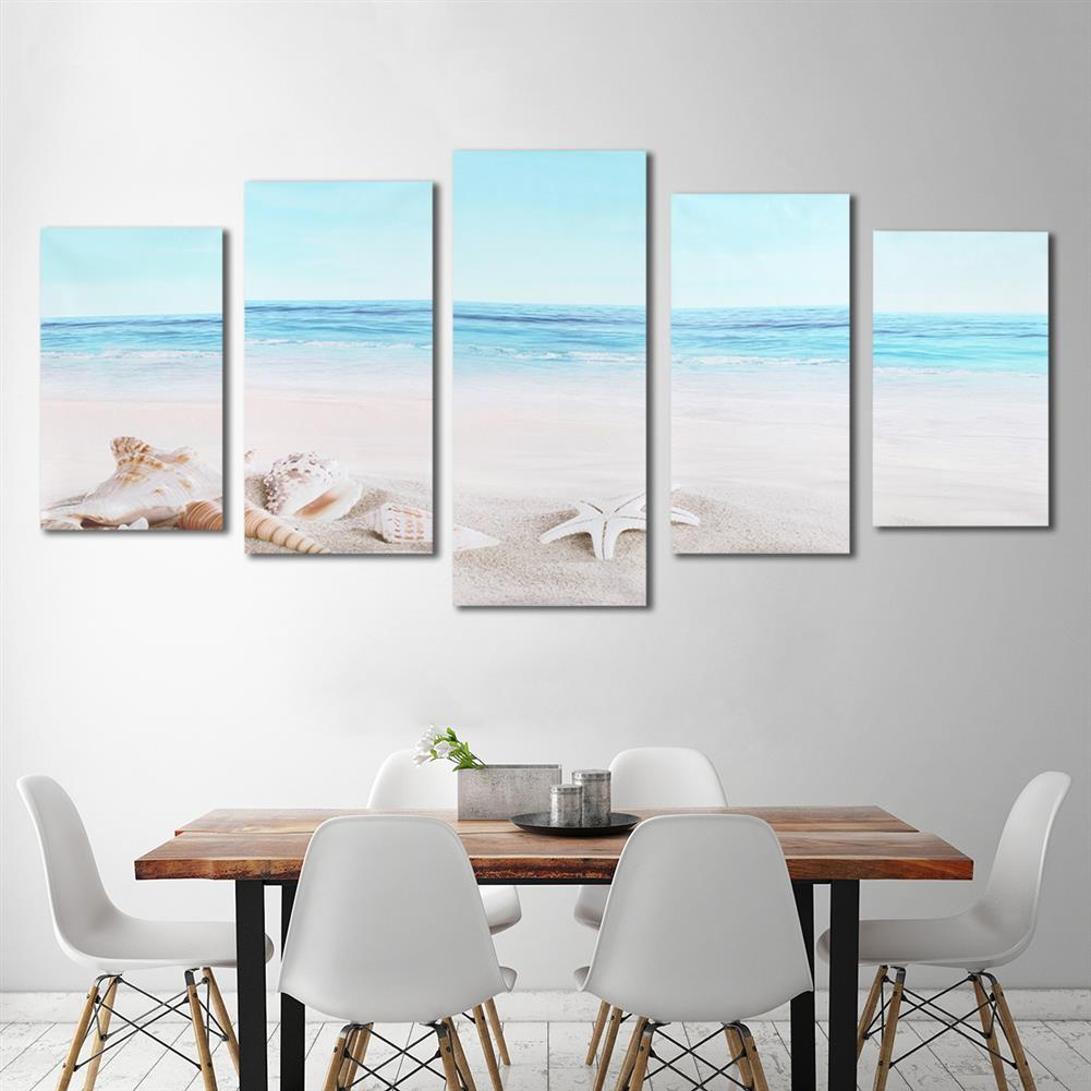 art-kit 5Pcs Wall Decorative Paintings Sea Beach Canvas Print Art Pictures Frameless Wall Hanging Decor for Home office HOB1153835 2 1