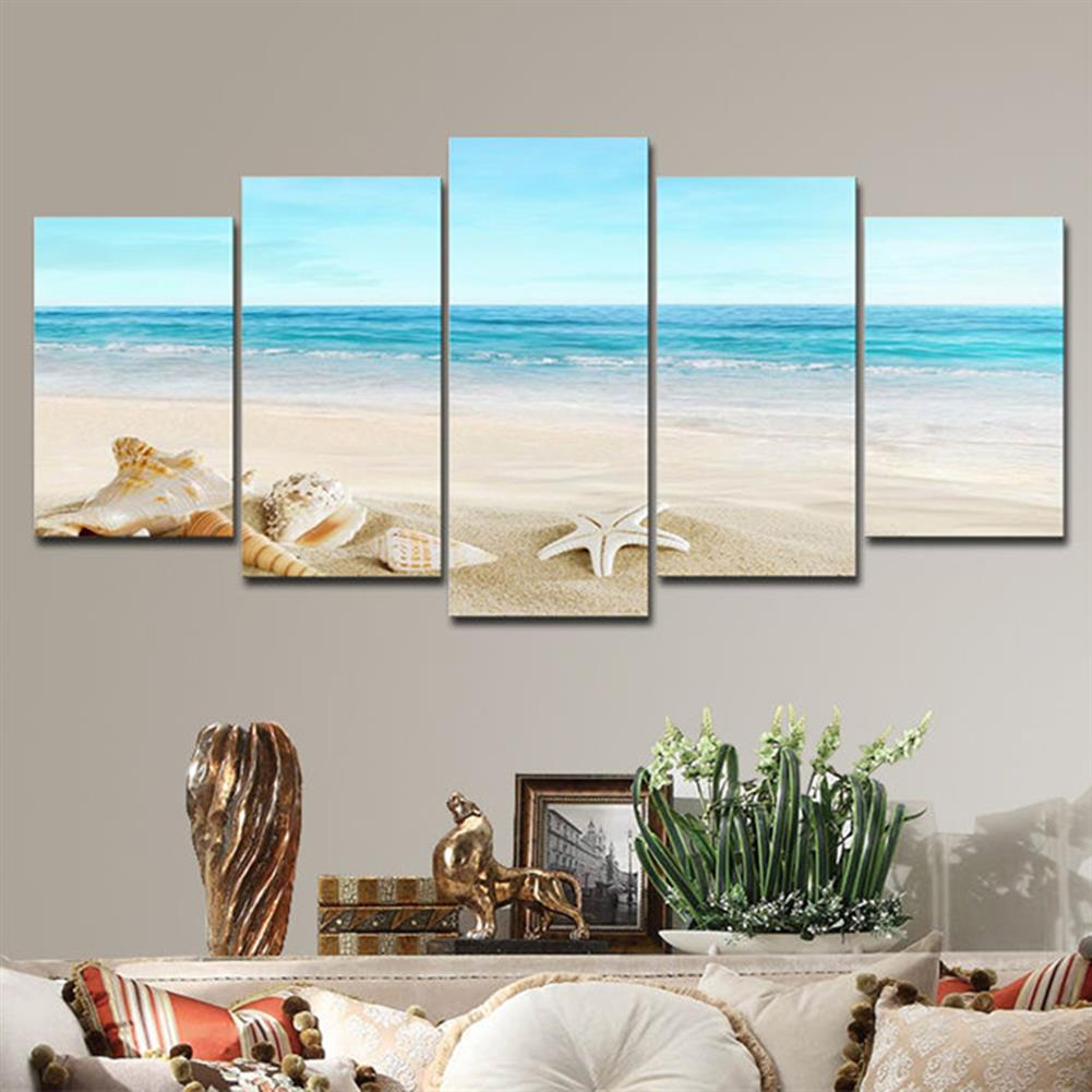 art-kit 5Pcs Wall Decorative Paintings Sea Beach Canvas Print Art Pictures Frameless Wall Hanging Decor for Home office HOB1153835 3 1