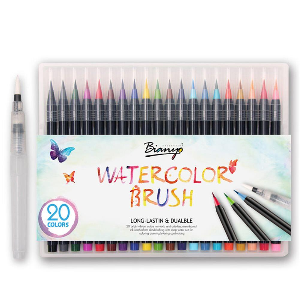 writing-brush 20 Colors Watercolor Drawing Writing Brush Artist Sketch Manga Marker Pen Set HOB1155971 1