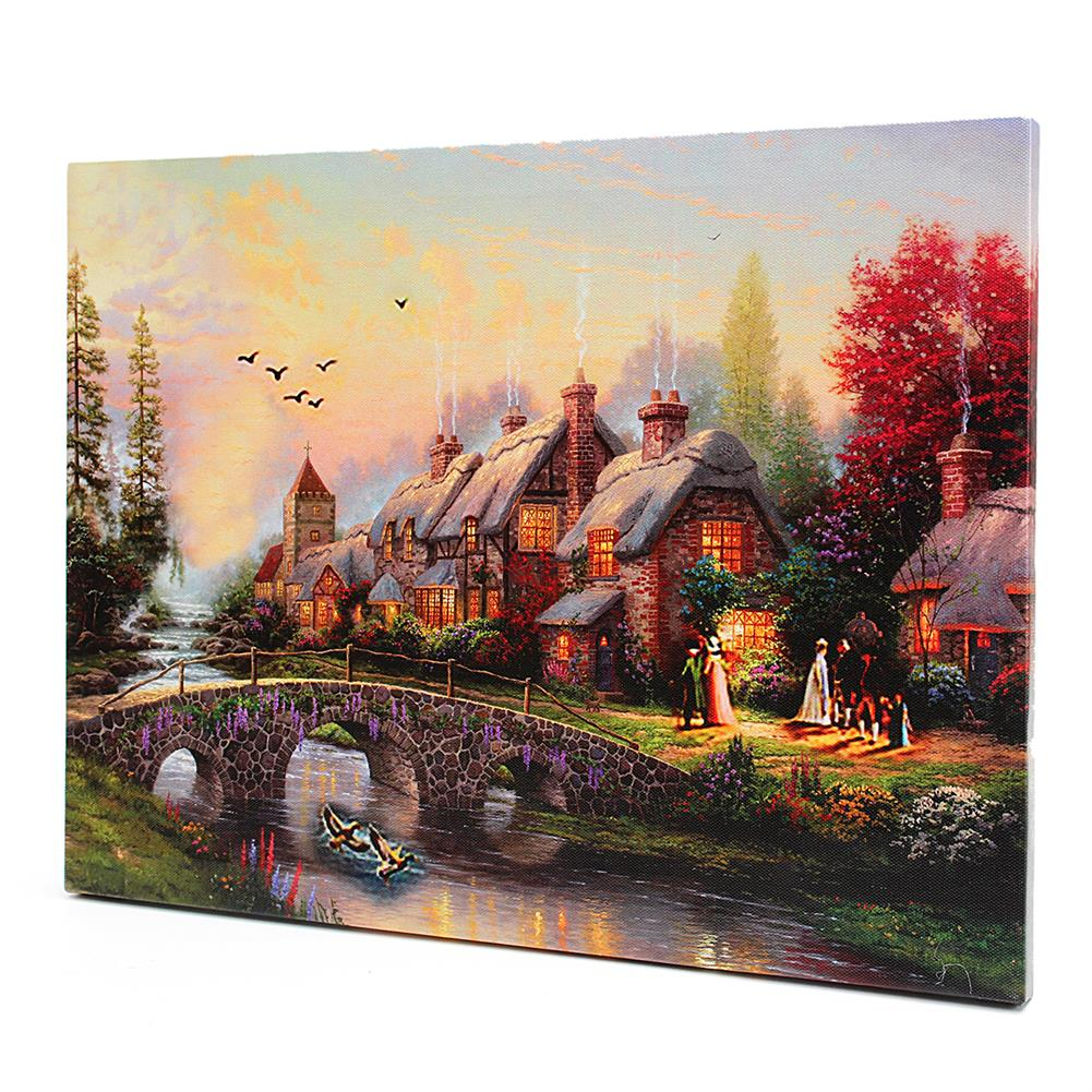 art-kit LED Luminous Canvas Paintings Rustic Dreamy Scenery Landscape Wall Decorative Printing Art Picture Frameless Home office Wall Decoration HOB1158952 3 1