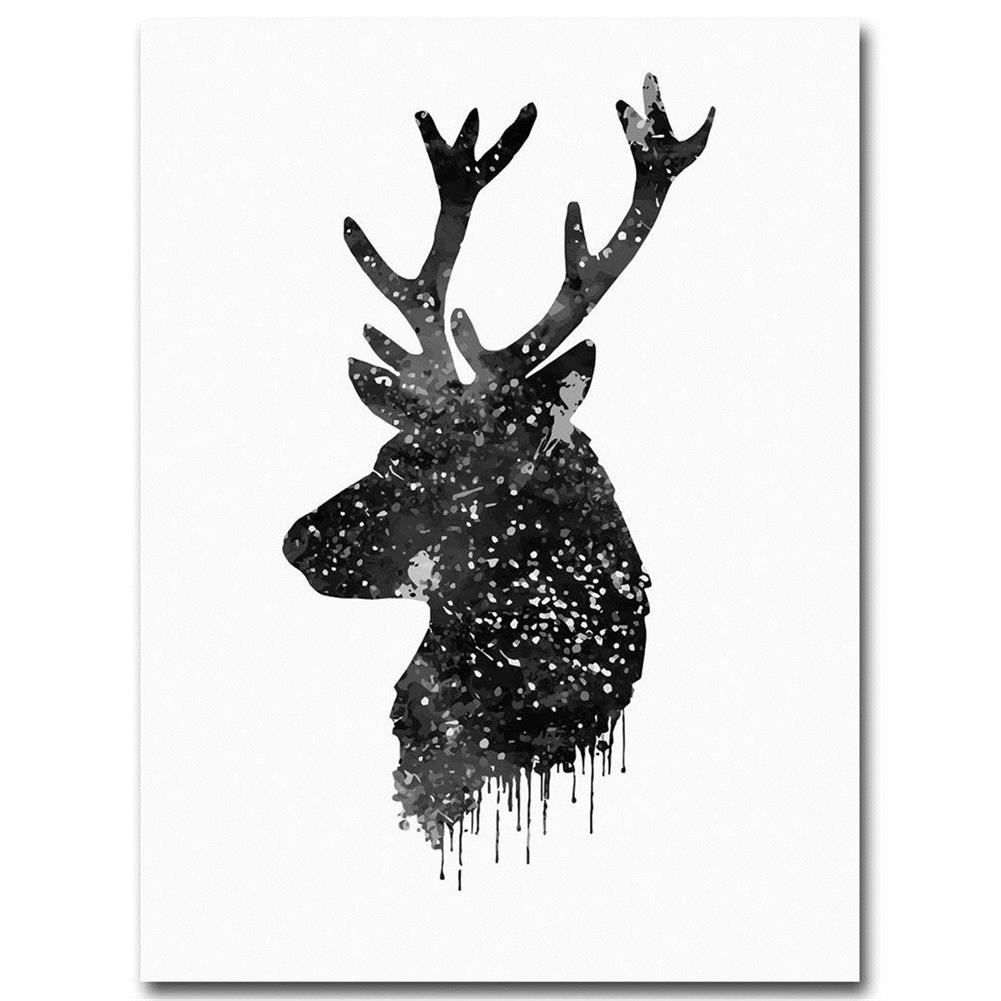 other-learning-office-supplies 30*40cm Deer Head Animal Canvas Poster Watercolor Painting Modern Hanging Picture Home Decoration Frameless HOB1159452 1 1