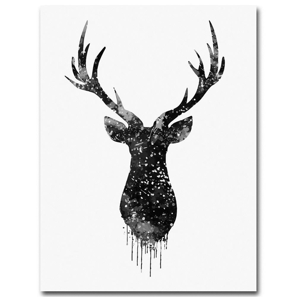 other-learning-office-supplies 30*40cm Deer Head Animal Canvas Poster Watercolor Painting Modern Hanging Picture Home Decoration Frameless HOB1159452 2 1