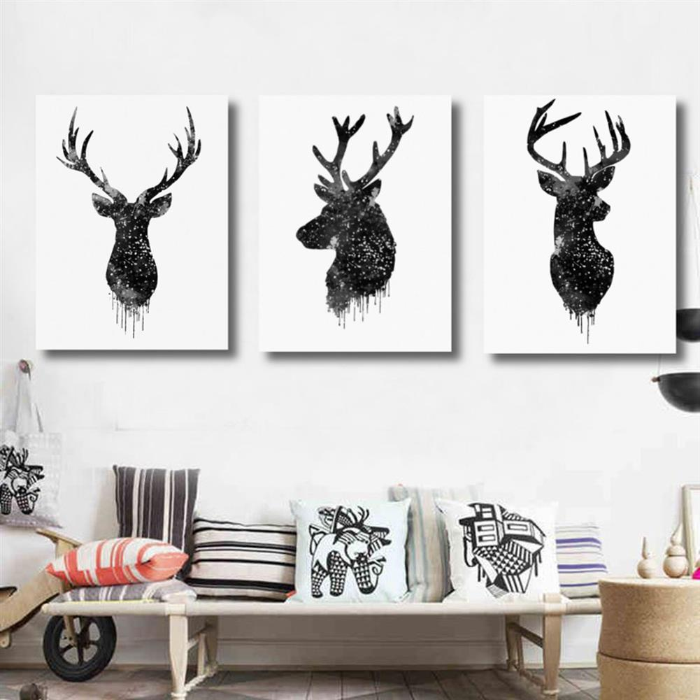 other-learning-office-supplies 30*40cm Deer Head Animal Canvas Poster Watercolor Painting Modern Hanging Picture Home Decoration Frameless HOB1159452 3 1