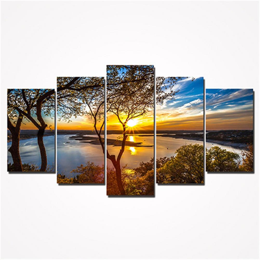 other-learning-office-supplies 5Pcs Canvas Print Paintings Landscape Wall Decorative Print Art Pictures Frameless Wall Hanging Decorations for Home office HOB1162237 1