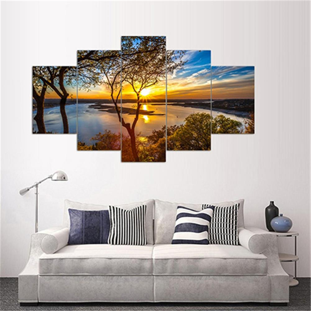 other-learning-office-supplies 5Pcs Canvas Print Paintings Landscape Wall Decorative Print Art Pictures Frameless Wall Hanging Decorations for Home office HOB1162237 1 1