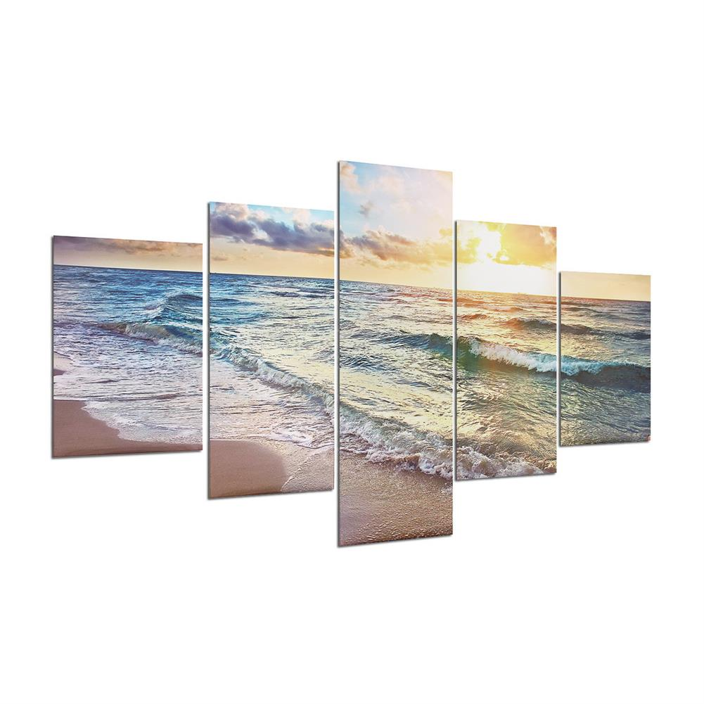 other-learning-office-supplies 5 Panels Unframed Modern Canvas Seascape Sunrise Art Hanging Picture Room Wall Art Pictures Home Wall Decoration Supplies HOB1167012 1 1