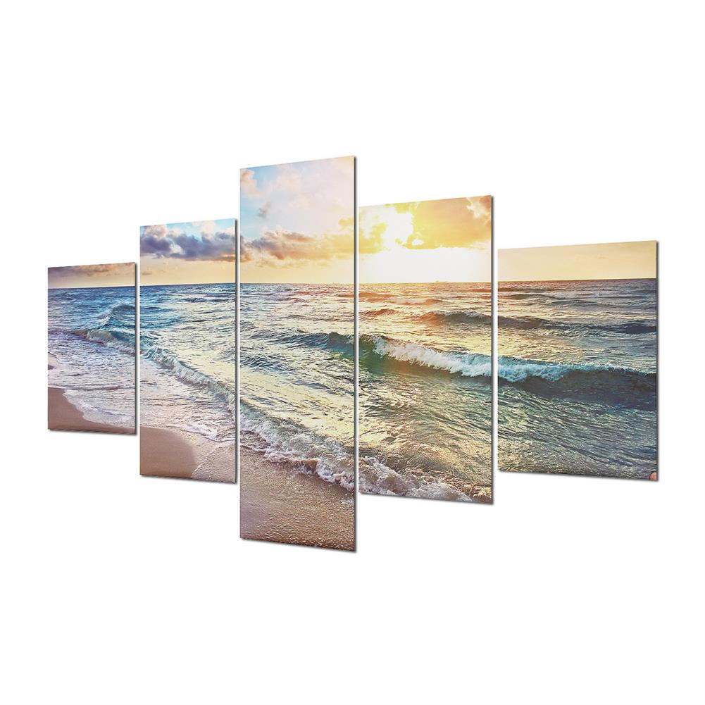 other-learning-office-supplies 5 Panels Unframed Modern Canvas Seascape Sunrise Art Hanging Picture Room Wall Art Pictures Home Wall Decoration Supplies HOB1167012 2 1