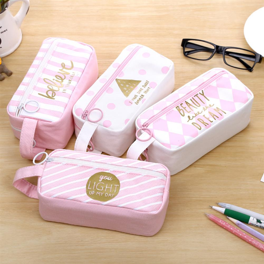 pencil-case Canvas Pencil Case Large Capacity Pink Girl Pen Box Stationery Pouch Makeup Cosmetic Bag for School office Supplies HOB1176615 1