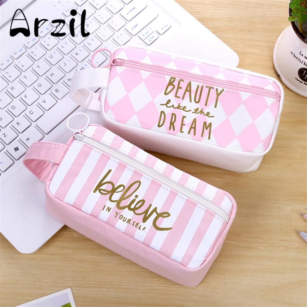pencil-case Canvas Pencil Case Large Capacity Pink Girl Pen Box Stationery Pouch Makeup Cosmetic Bag for School office Supplies HOB1176615 1 1