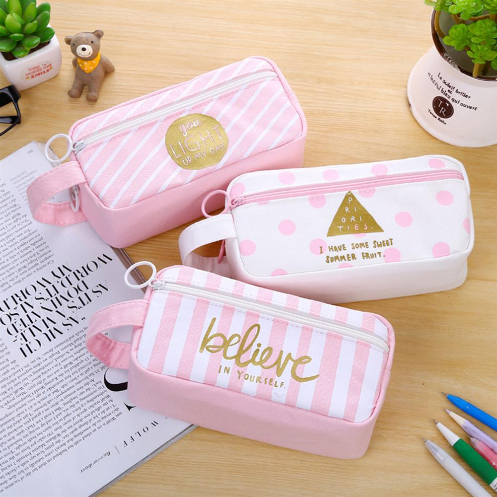 pencil-case Canvas Pencil Case Large Capacity Pink Girl Pen Box Stationery Pouch Makeup Cosmetic Bag for School office Supplies HOB1176615 2 1