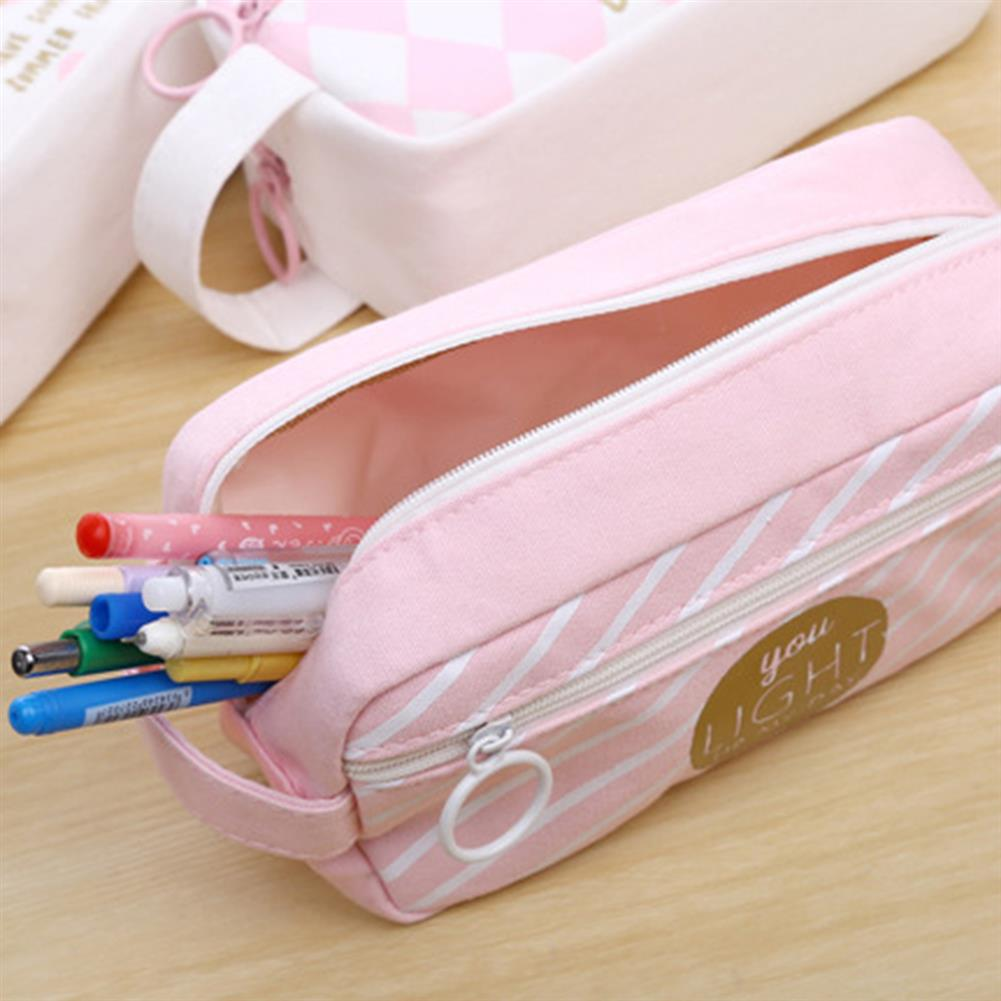 pencil-case Canvas Pencil Case Large Capacity Pink Girl Pen Box Stationery Pouch Makeup Cosmetic Bag for School office Supplies HOB1176615 3 1