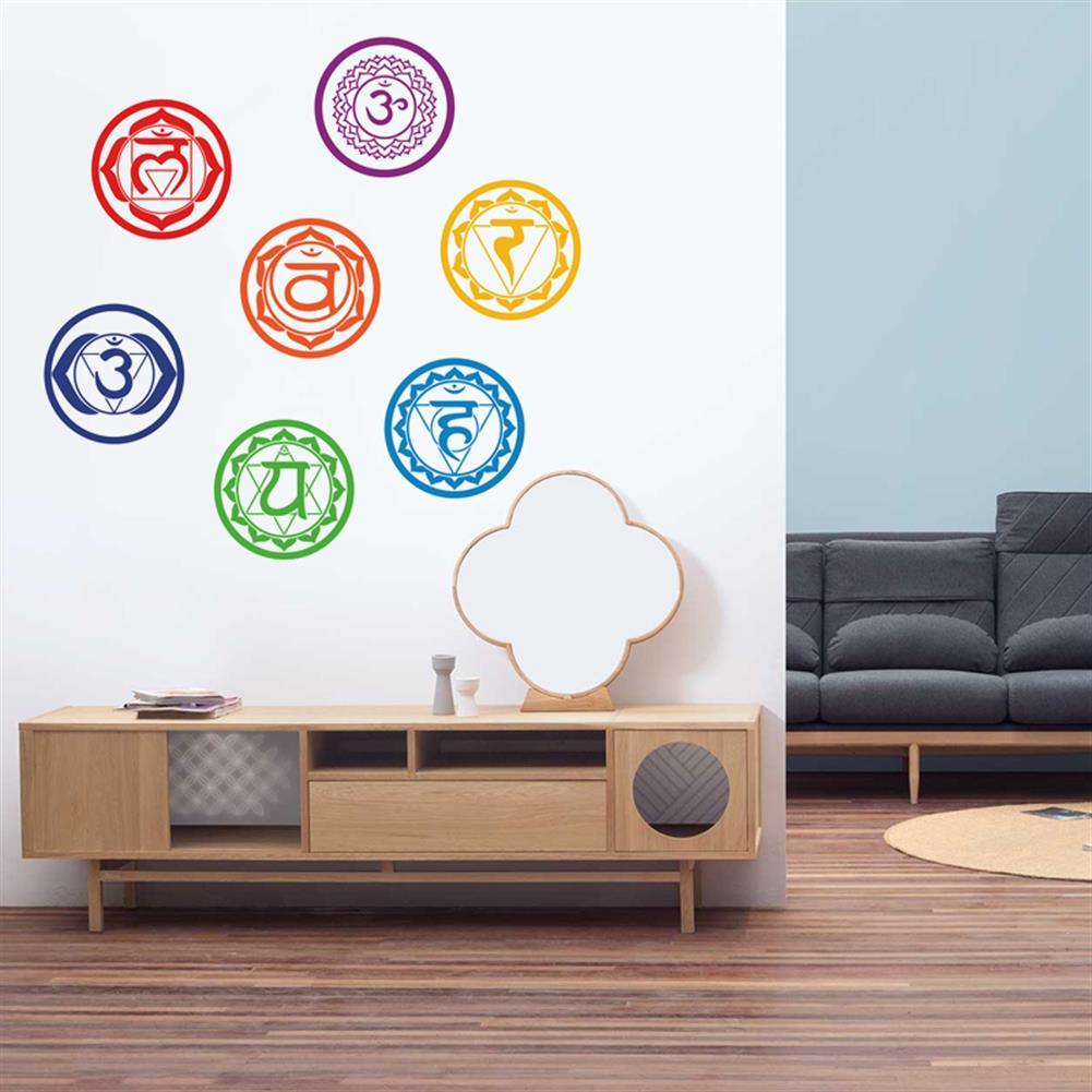 paper-notebooks 7Pcs/set Chakras Wall Stickers Mandala Yoga Meditation Symbol PVC Removable Wall Decals Murals Home Wall Decoration HOB1191806 1 1