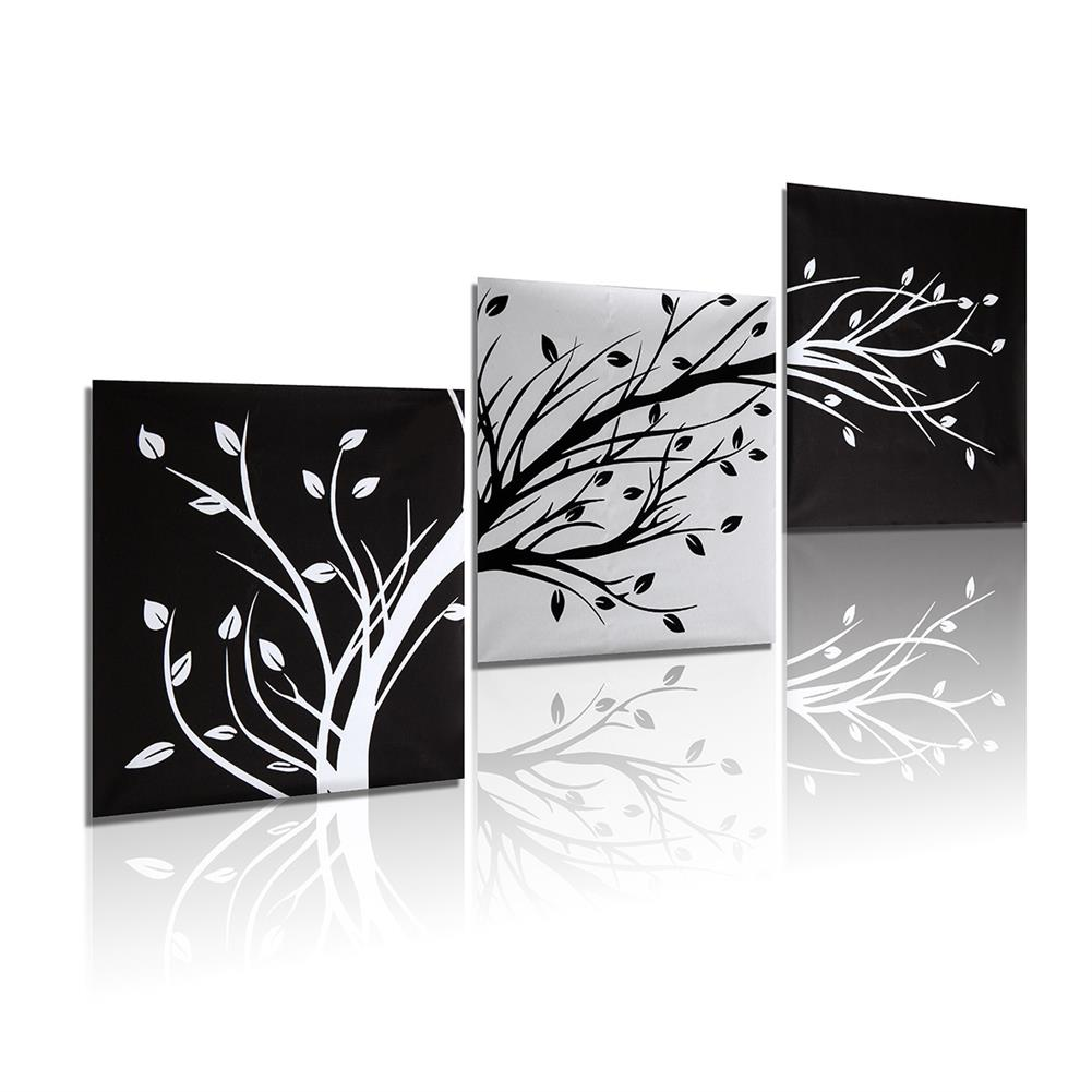 art-kit 3Pcs Wall Decorative Paintings Abstract Wood Canvas Print Art Pictures Frameless Wall Hanging Decor for Home office HOB1206624 1 1