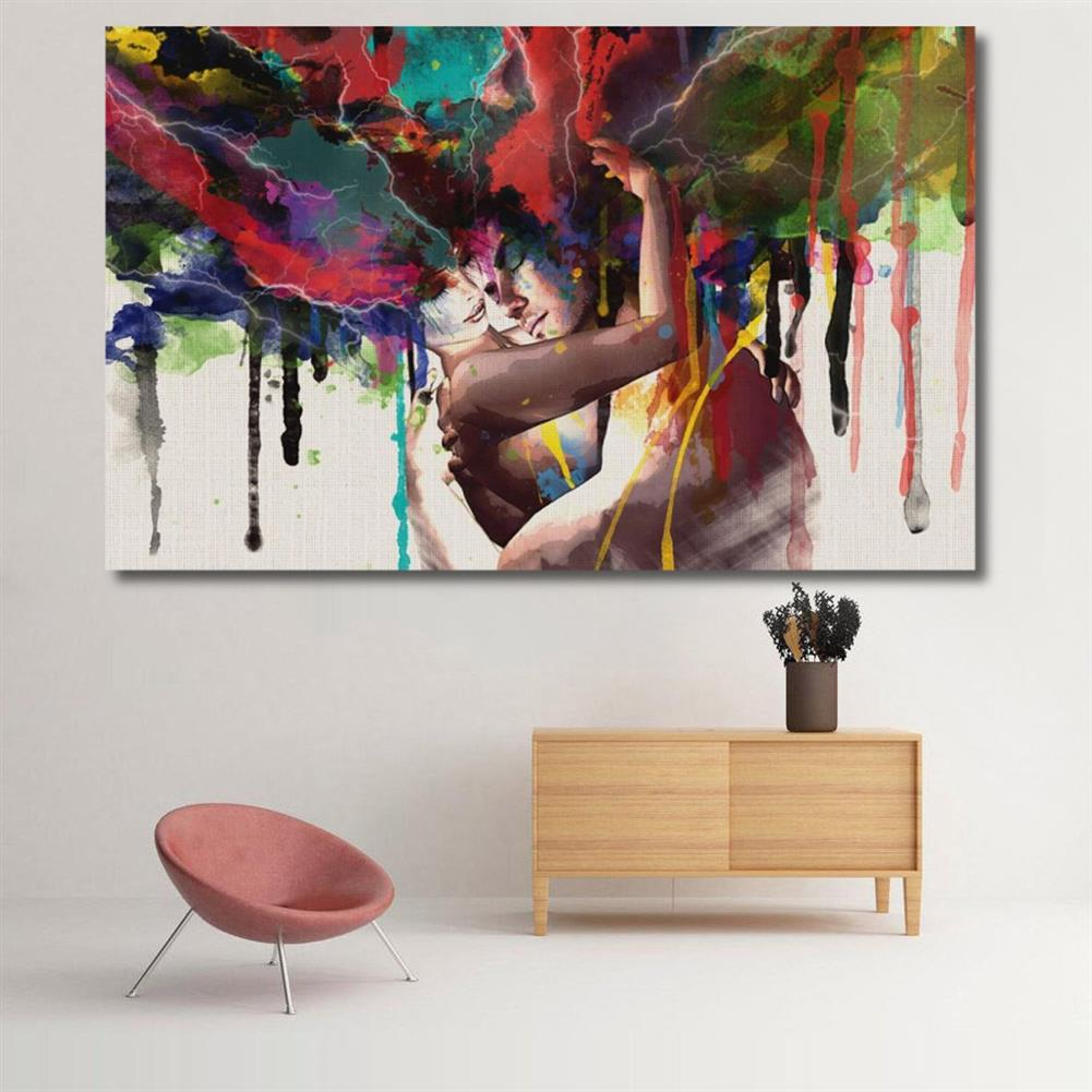 art-kit Couple Hugging Canvas Painting Wall Decorative Print Art Pictures Wall Hanging Home office Hotel Restaurant Wall Decorations HOB1207598 2 1