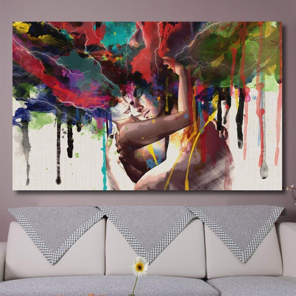 art-kit Couple Hugging Canvas Painting Wall Decorative Print Art Pictures Wall Hanging Home office Hotel Restaurant Wall Decorations HOB1207598 3 1