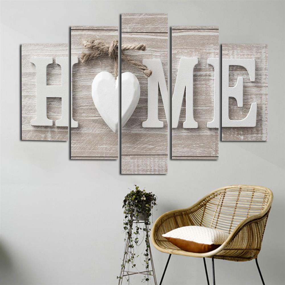 art-kit 5Pcs Canvas Painting Love HOME Wall Decorative Print Art Pictures Frameless Wall Hanging Decorations for Home office HOB1234957 1